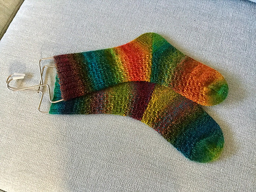 Nicole (mamaboj)'s Vagary Socks knit with Zauberball Crazy❤️