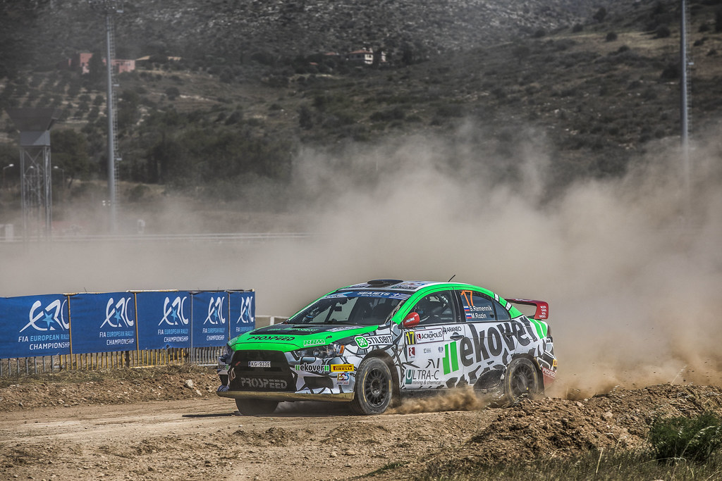17 REMENIK Sergei, ROZIN Mark, Mitsubishi Lancer EVO X, action during the European Rally Championship 2018 - Acropolis Rally Of Grece, June 1 to 3 at Lamia - Photo Gregory Lenormand / DPPI