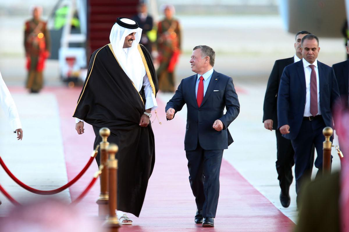الملك عبدالله وأمير قطر