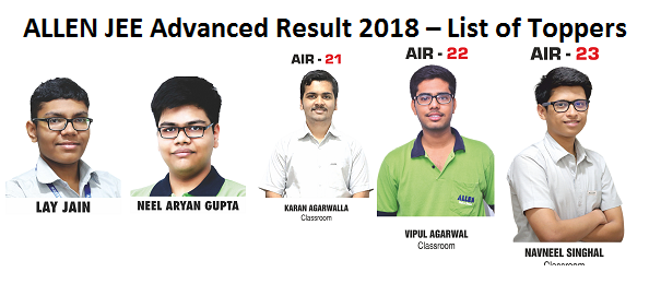 allen jee advanced result 2018 list of toppers