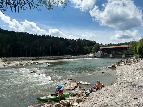Kayakers on the River Isar South of Munich