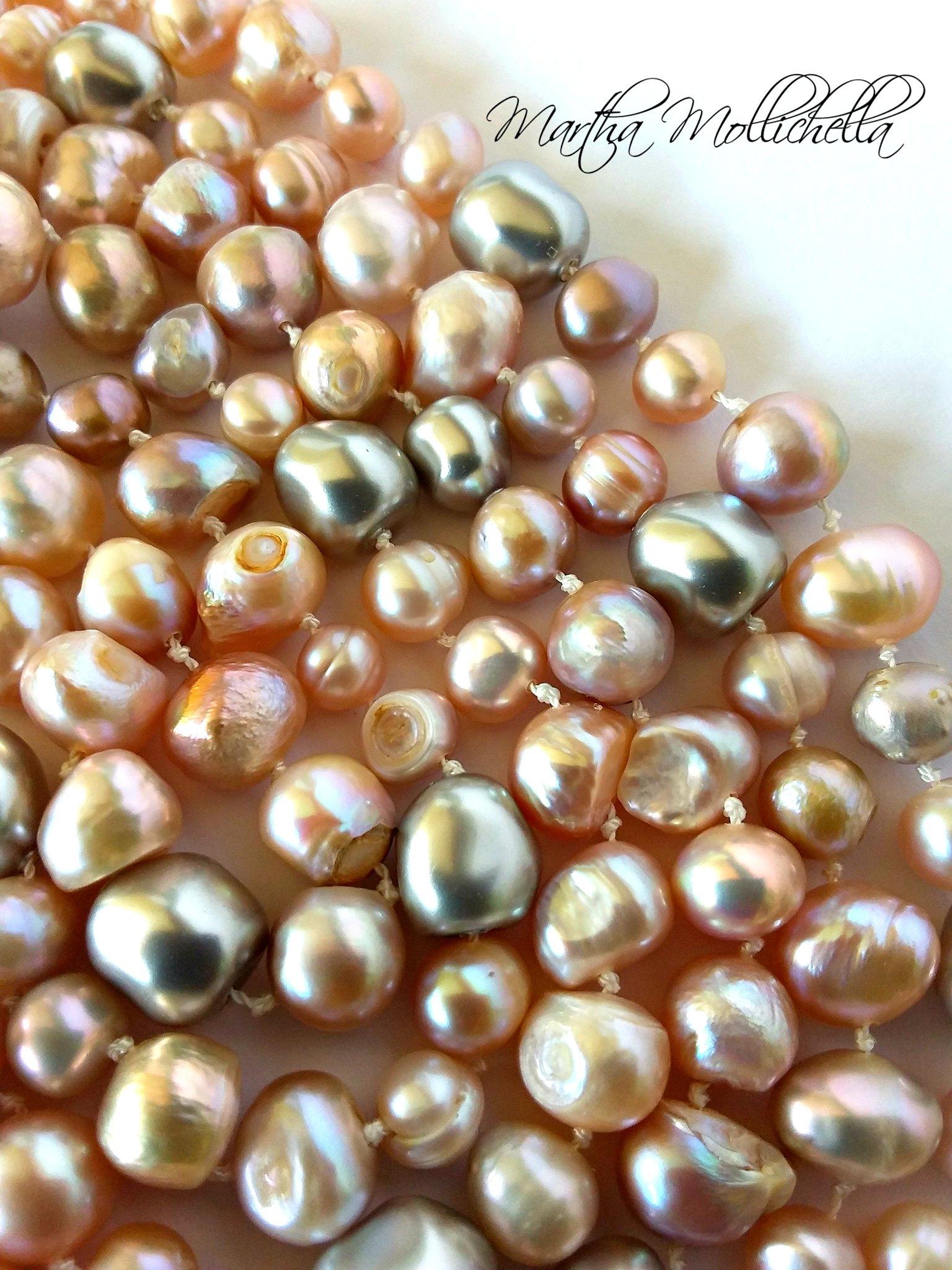 Freshwater pearls swarovski baroque pearls by Martha Mollichella
