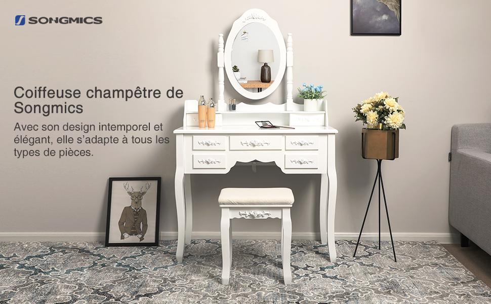 Songmics coiffeuse de maquillage tiroirs miroir et tabouret