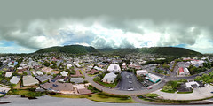 A view of the Manoa Valley Church from my DJI Mavic Pro hovering at 164 feet - an aerial 360° Equirectangular VR
