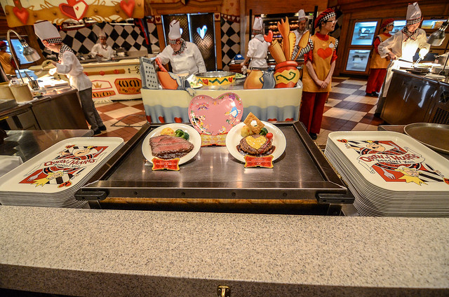 Queen of Hearts Banquet Hall food line TDL