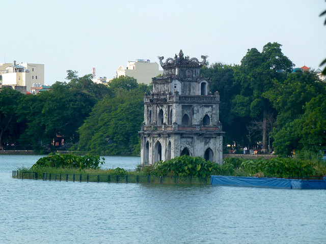 Hoan Kiem Lake, or lake of the restored sword is a major attraction in Hanoi, Vietnam.