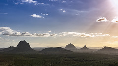 Glass House Mountains from Wild Horse Mtn lookout