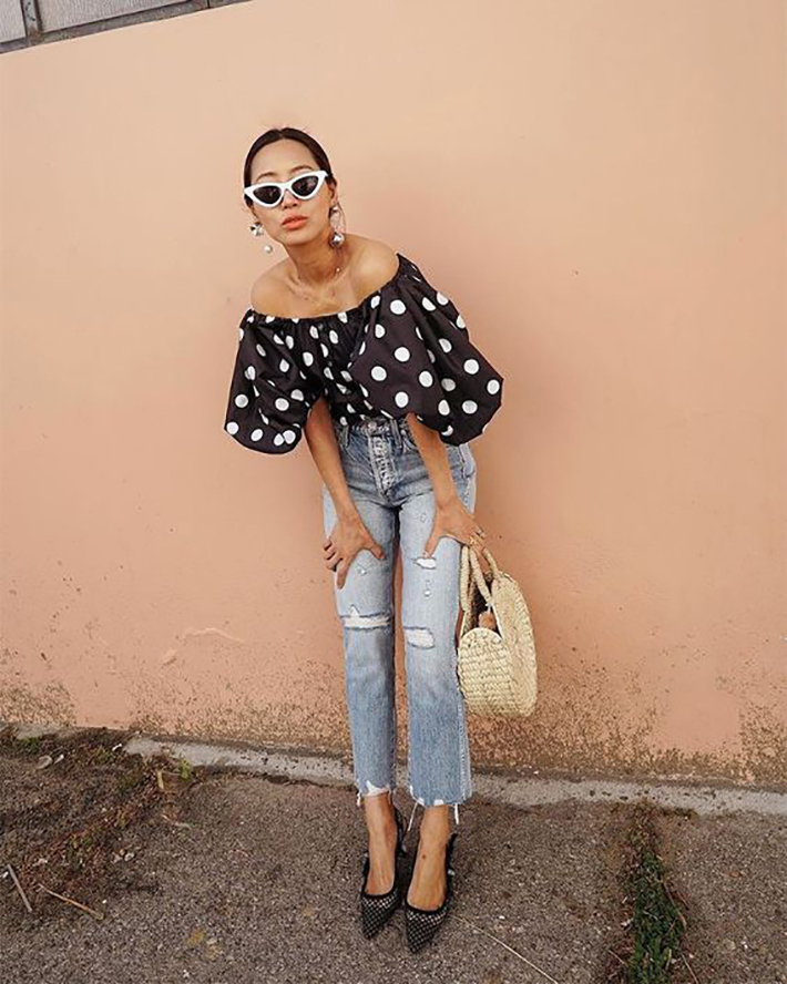 polka dot outfits for this summer trend 2018 style fashion tendencias9