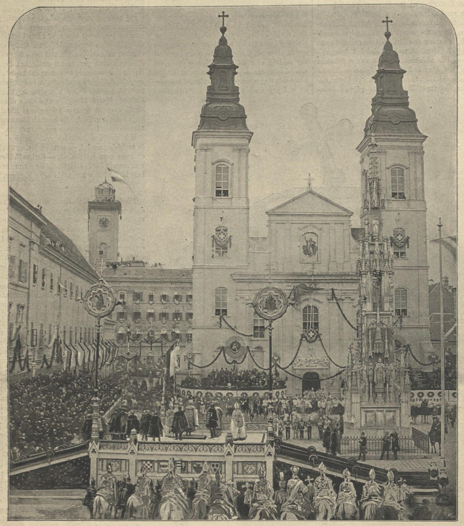 Photo of the coronation oath in Buda in front of the Inner City Parish Church (Budapest) on June 8, 1867.