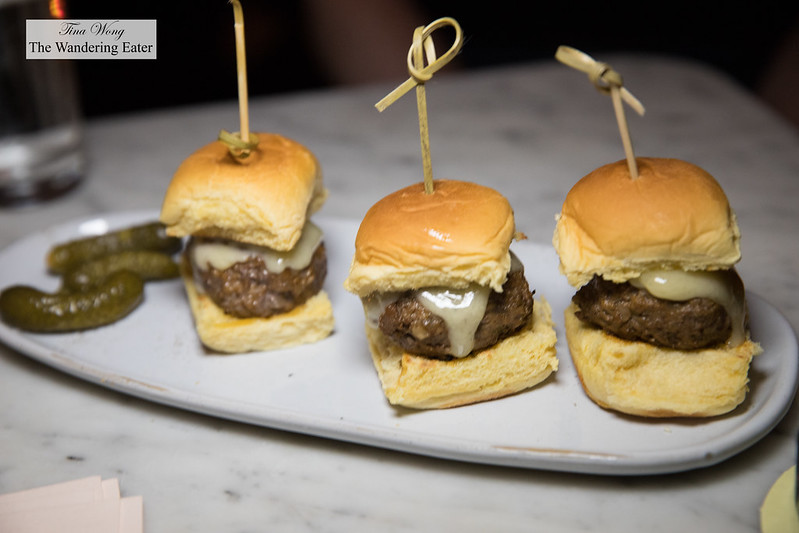 Lamb sliders, gruyere cheese & tzatziki