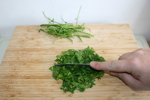 20 - Blättchen abzupfen & grob zerkleinern / Pick leaflets & hackle parsley