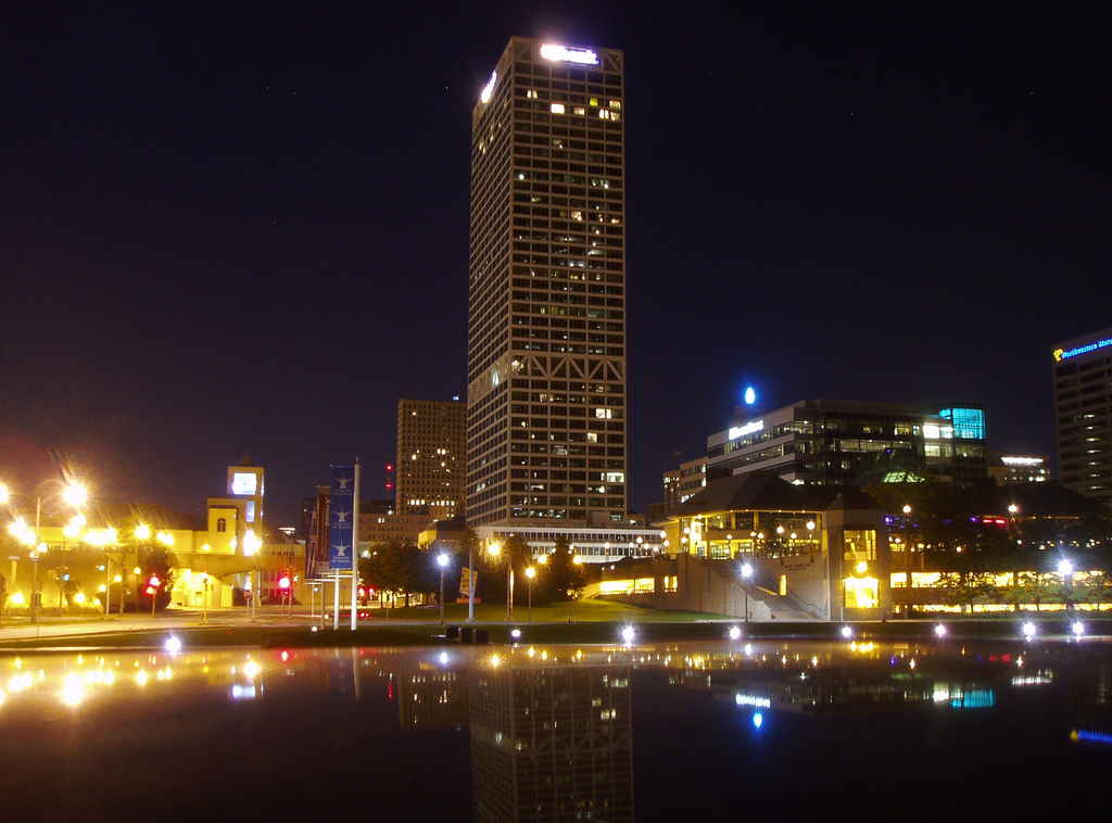 The U.S. Bank Center in Milwaukee is Wisconsin's tallest building.The view of downtown Milwaukee from the construction site near Pieces of Eight on October 16, 2005.