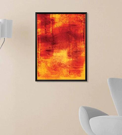 fiery orange framed digital print