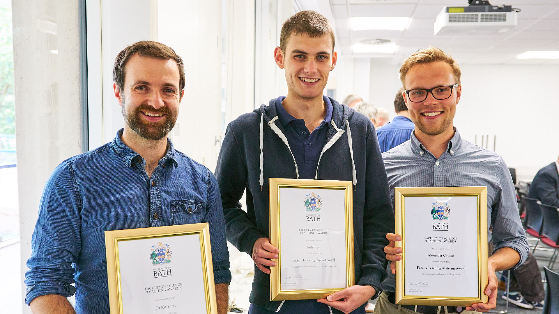 The three winners of the Faculty of Science teaching awards