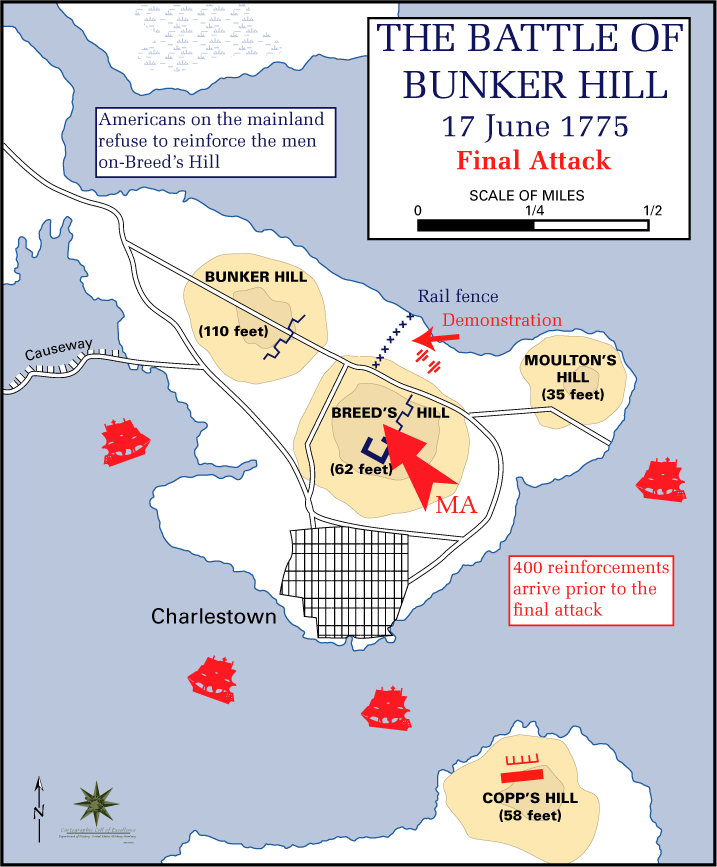 The third and final British attack on Bunker Hill