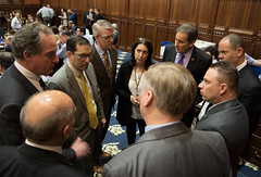 Members of the Conservative Caucus discuss legislation during the final night of the 2018 regular legislative session.