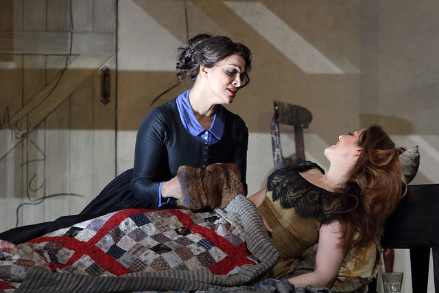 Danielle de Niese as Musetta and Maria Agresta as Mimì in La Bohème, The Royal Opera © 2018 ROH. Photograph by Catherine Ashmore