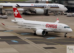 Swiss Global Air Lines CS100 HB-JBC pushing back at LHR/EGLL