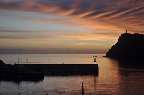 isleofman porterin sunset coastalscene pier lighthouse