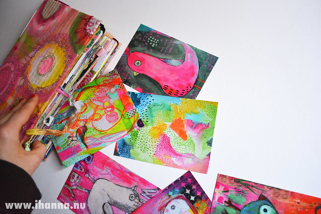 Printed postcards from Moo spilling out of my Art Journal