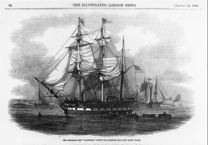 Immigrants aboard the Artemisia arrived at the colony of Moreton Bay, New South Wales, in 1848. Image was published in The Illustrated London News on August 12, 1848.