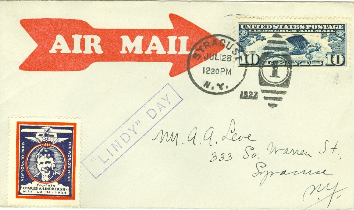 Airmail cover from the July 28, 1927, Syracuse, New York, stop of Charles Lindbergh's Goodwill Tour of the United States.