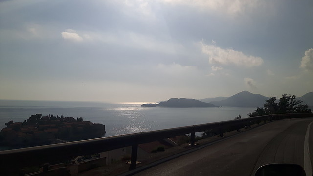 View of Mediterranean Sea and islands in Montenegro from a car window