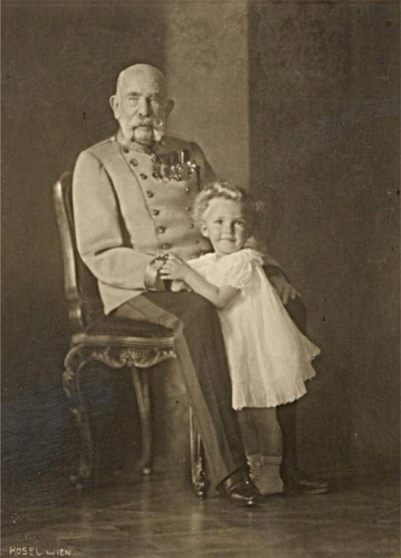 Emperor Franz Joseph I of Austria, King of Hungary, and his grand nephew and heir to the throne Archduke Otto von Habsburg. Photo taken on September 15, 1914.