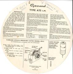 Garrard Model AT5 lm Instructions Back
