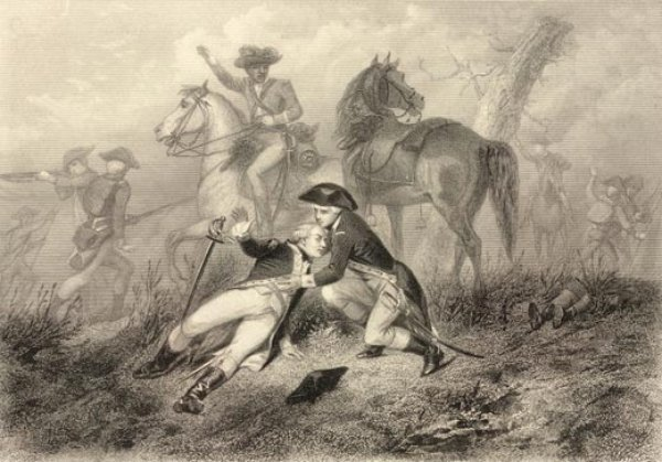 Lafayette wounded at the battle of Brandywine on September 11, 1777