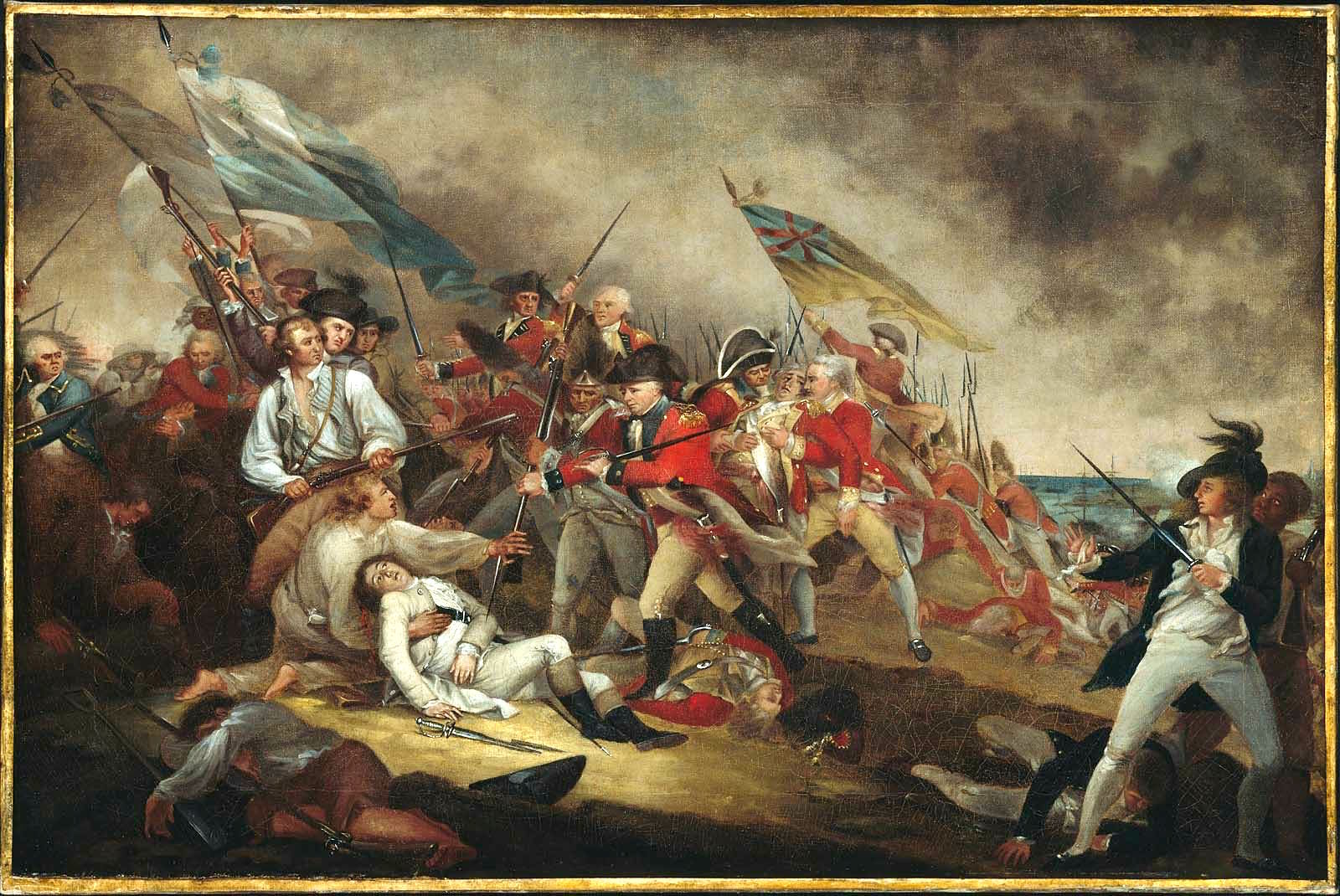The Death of General Warren at the Battle of Bunker's Hill, June 17,1775, oil on canvas (75.5 × 50.1 cm, 29.7 × 19.7 in), 1786. artist commissioned by the Warren family; descended in the Warren family to J. Collins Warren, 1909-27; to Joseph Warren, 1927-42; to his estate; to Howland Shaw Warren, 1946; to MFA, 1977, gift of Howland S. Warren. Currently at the Museum of Fine Arts, Boston, Massachusetts.
