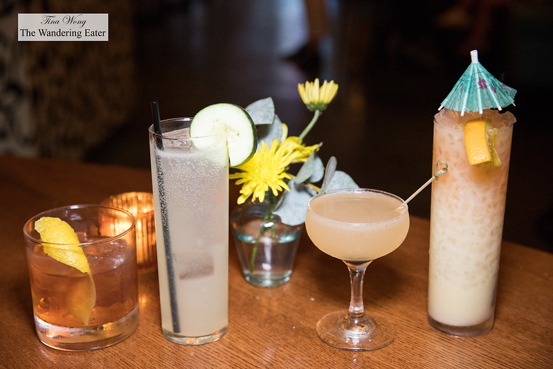 Our round of cocktails (left to right) - Rhubarbara Ann, Easy Breezy, Reno Wedding, Party Shirt