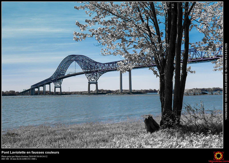 Pont Laviolette en fausses couleurs