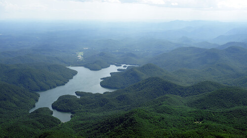 landscape scenic aerial summer blueridge mountains lake