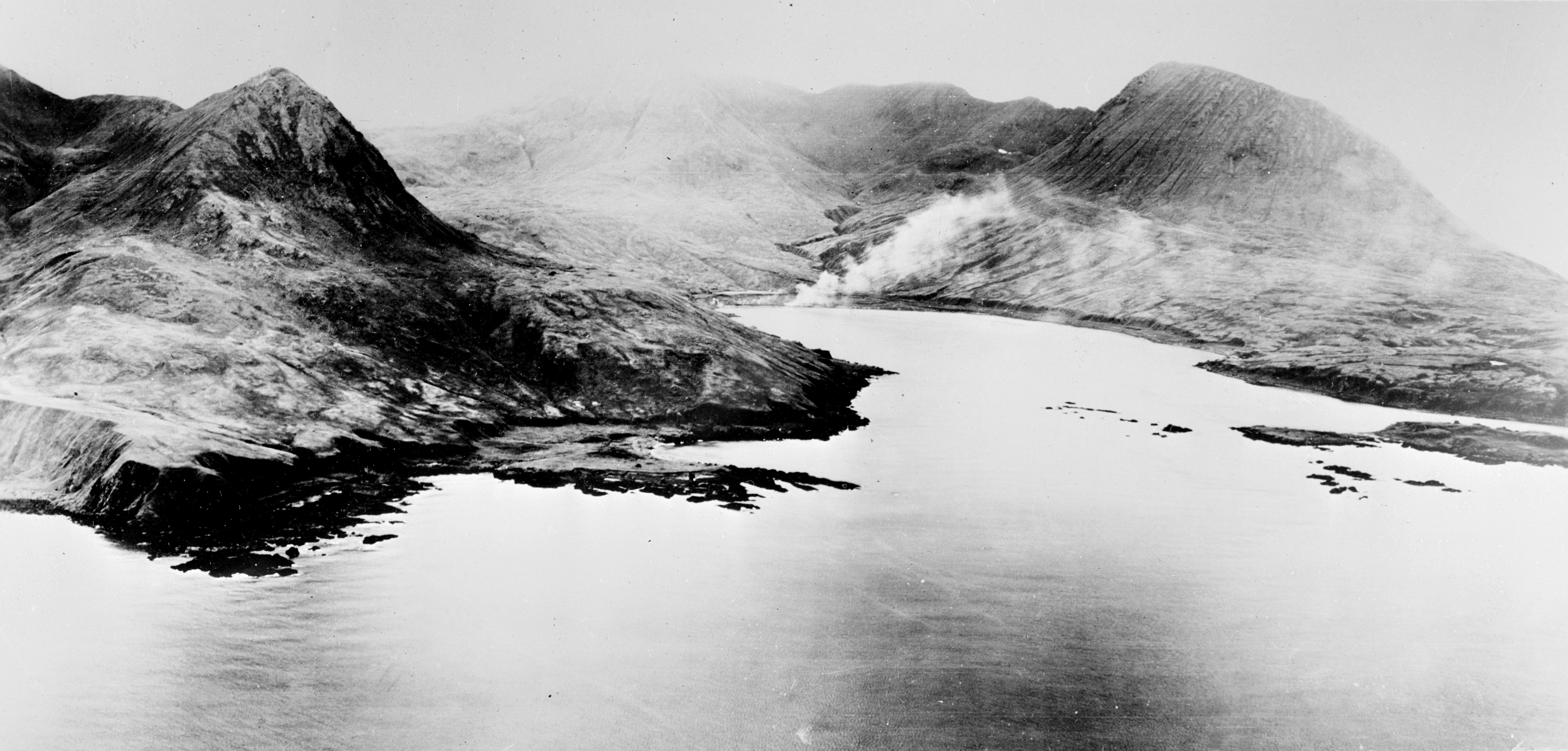 Chichagof Harbor under attack during the Allied liberation of Attu Island, Alaska, between May 11 and 30, 1943.