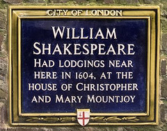 Photo of William Shakespeare, Christopher Mountjoy, and Mary Mountjoy blue plaque