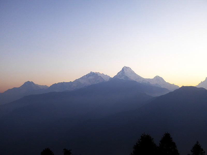 View of the Annapurna series of Mountains at a sunrise viewing on Poon Hill.