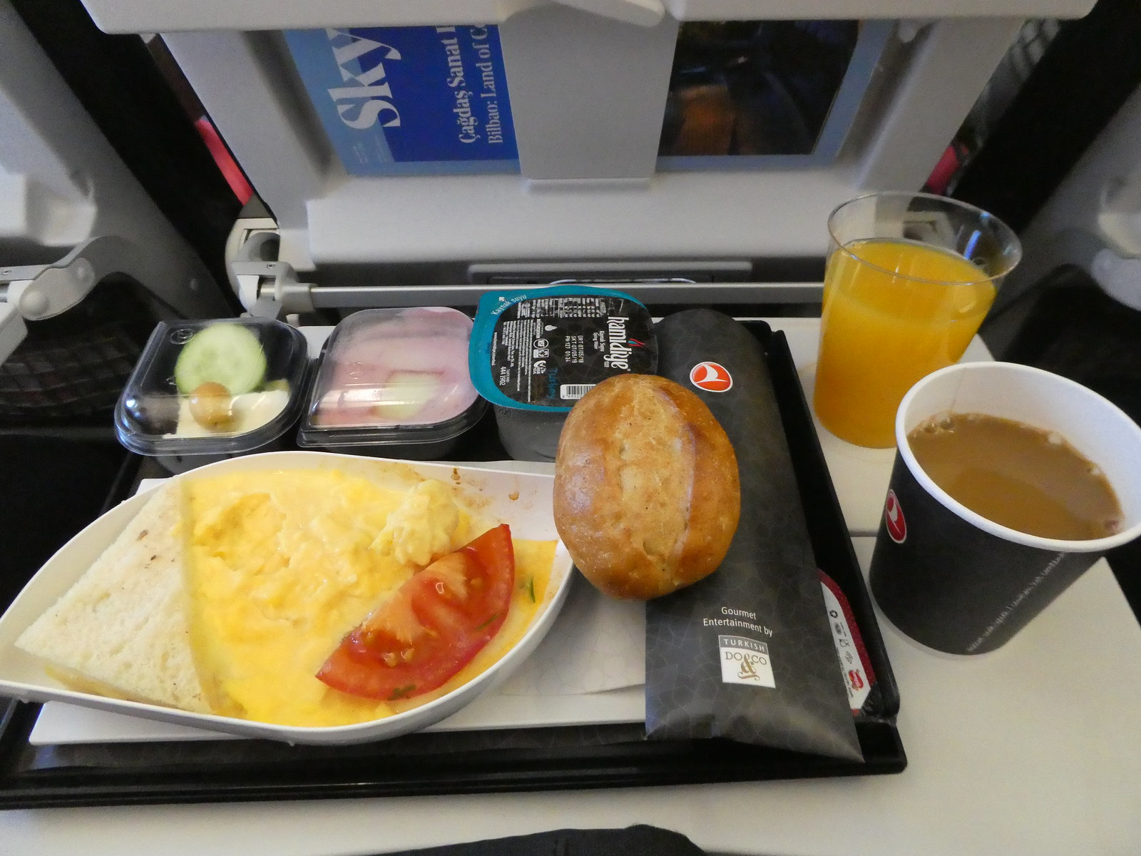 Breakfast on board our Turkish Airlines flight from Istanbul to London Gatwick