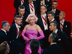 "Marilyn Monroe with Chorus & Dancers, Wearing Iconic Pink Dress, ""Gentlemen Prefer Blondes"" (1953)"