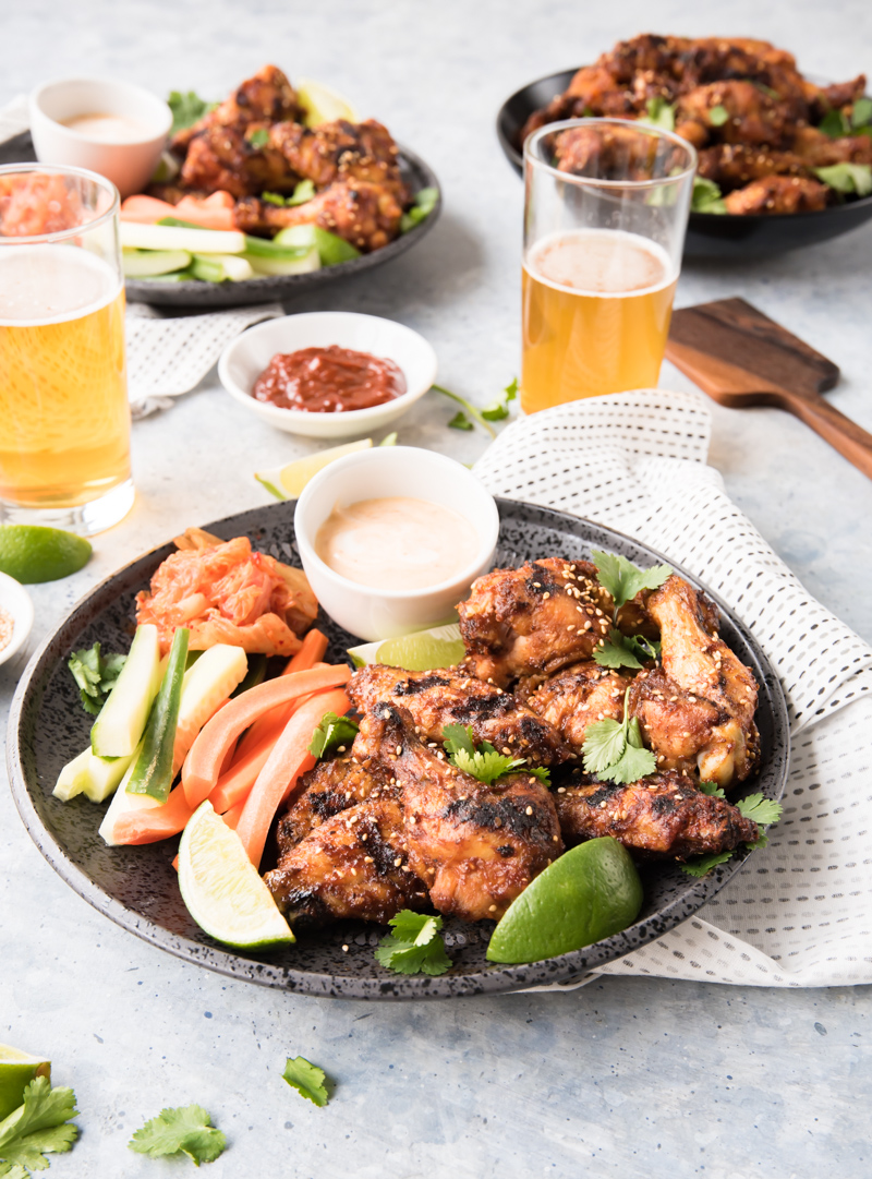 Grilled Korean Chicken Wings with Honey Gochujang Dipping Sauce www.pineappleandcoconut.com #ad #discoverworldmarketilled Korean Chicken Wings-280