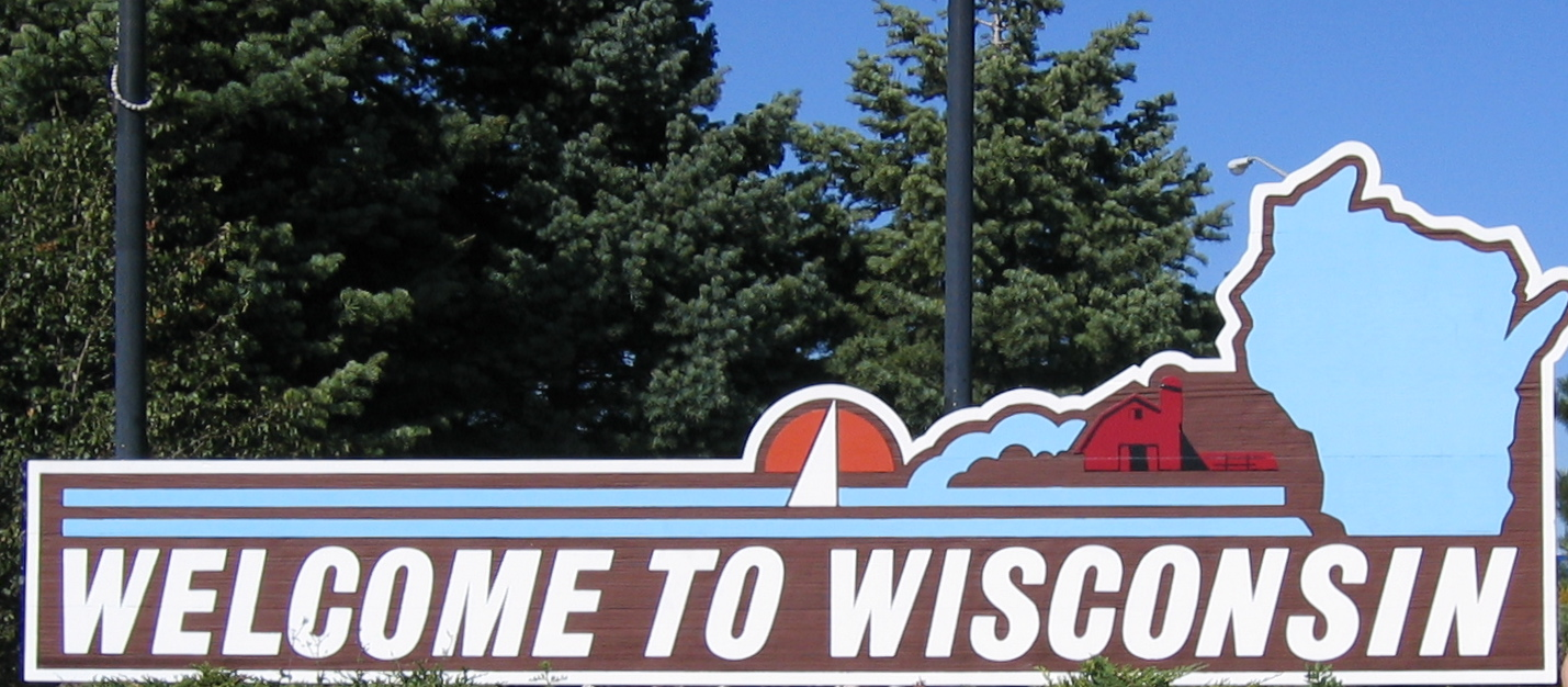Wisconsin state welcome sign. Photo taken on September 23, 2007.