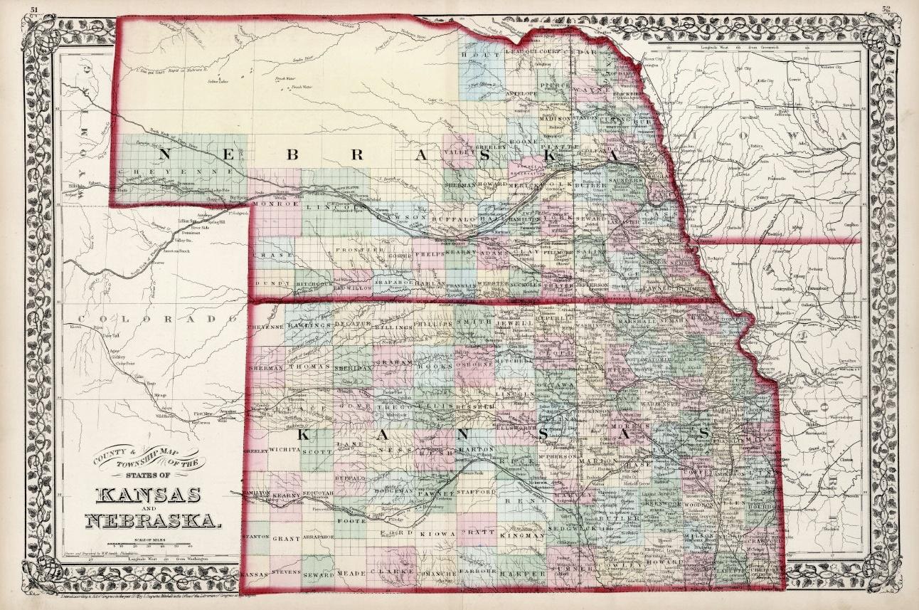 Map of Nebraska and Kansas, drawn in 1868.
