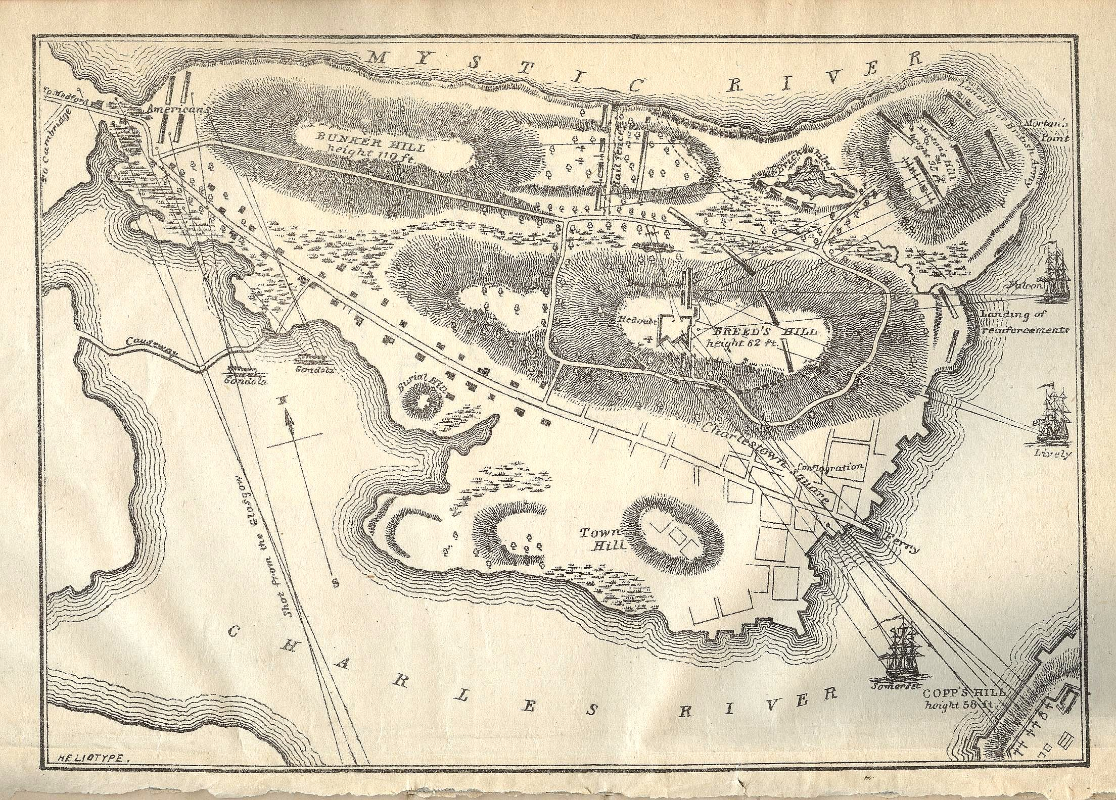 An illustrated map featuring military notes of the battle ground of Battle of Bunker Hill on Charlestown peninsula, encompassing Bunker and Breed's Hills. (George E Ellis. History of the Battle of Bunker's [Breed's Hill] on June 17,1775.... Boston:1875).