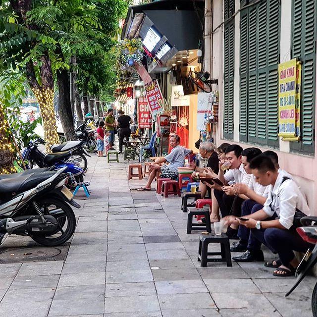 [Hanoi] streetside cafe, can be found all arou d Hanoi.