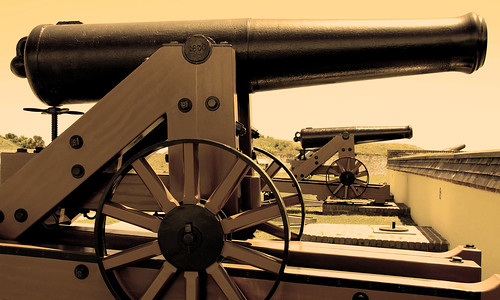 Cannon display on ramparts of Ft Moultrie, Sullivan Island, South Carolina