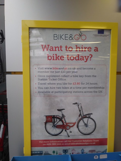 Sign promoting the Bike&Go bike share program, Merseyrail Liverpool