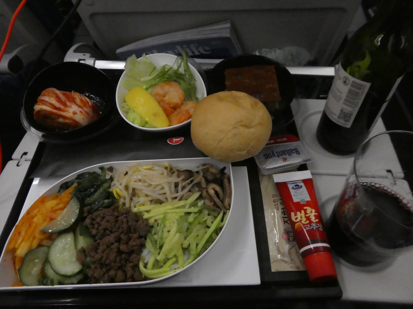 Dinner on board our Turkish Airlines flight from Seoul to Istanbul