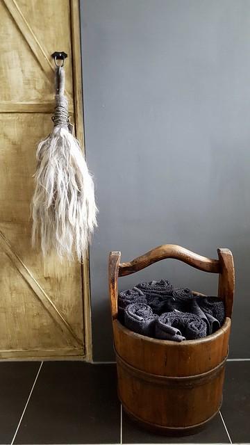 Toef van wol emmer handdoeken
