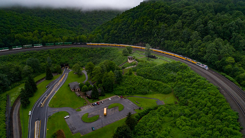train railroad dji phantom 4 aerial drone ns nspittsburghline up unionpacific trains ns066 horseshoecurve thecurve curve