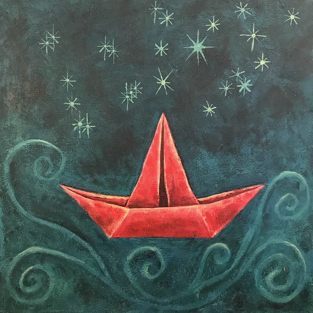 Red Paper Boat Under Stars